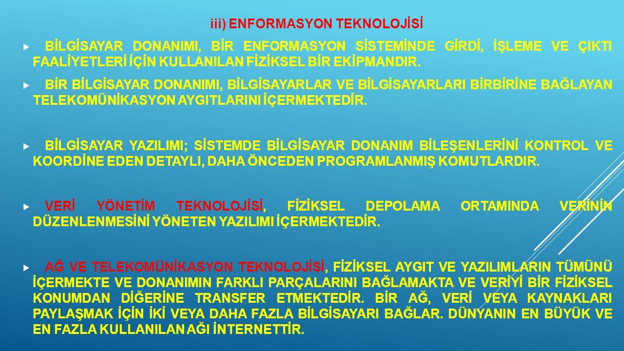 iii) ENFORMASYON TEKNOLOJİSİ  BİLGİSAYAR DONANIMI, BİR ENFORMASYON SİSTEMİNDE GİRDİ, İŞLEME VE ÇIKTI FAALİYETLERİ İÇİN KULLANILAN FİZİKSEL BİR EKİPMA