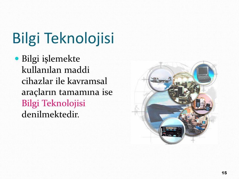 Bilgi Teknolojisi Bilgi işlemekte kullanılan maddi cihazlar ile kavramsal araçların tamamına ise Bilgi Teknolojisi denilmektedir. 15