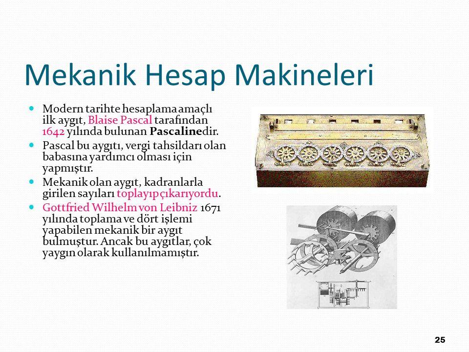 Mekanik Hesap Makineleri Modern tarihte hesaplama amaçlı ilk aygıt, Blaise Pascal tarafından 1642 yılında bulunan Pascalinedir. Pascal bu aygıtı, verg
