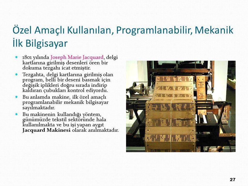 Özel Amaçlı Kullanılan, Programlanabilir, Mekanik İlk Bilgisayar 1801 yılında Joseph Marie Jacquard, delgi kartlarına girilmiş desenleri ören bir doku
