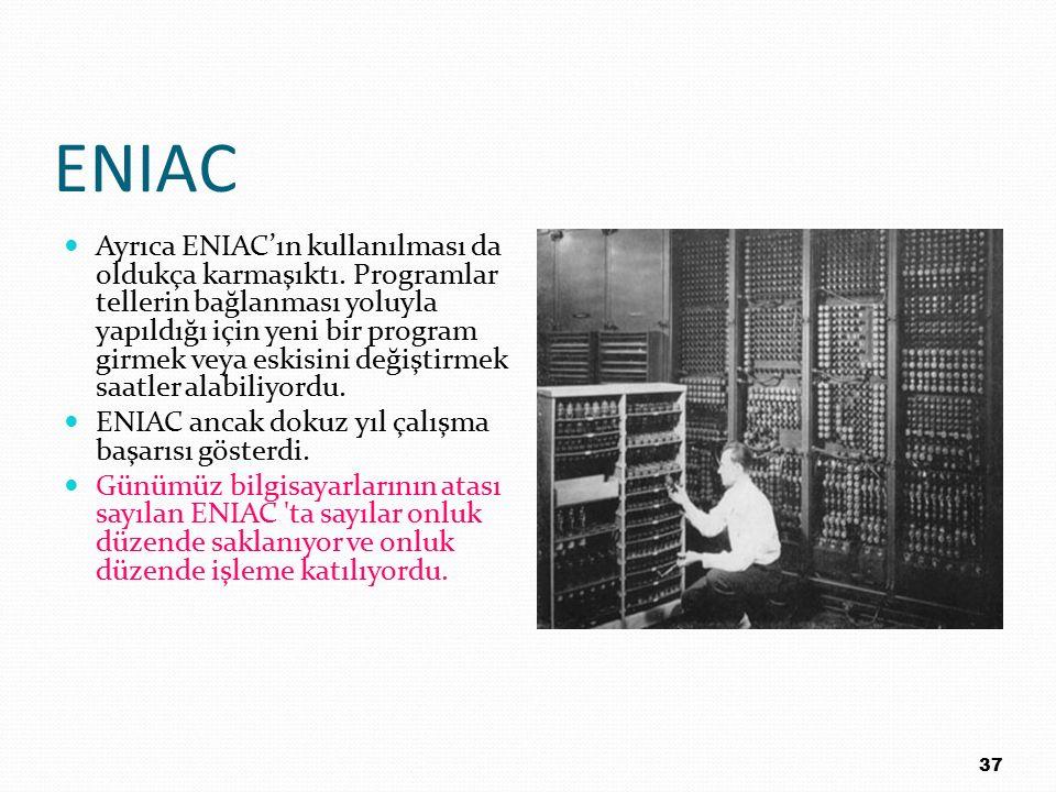 ENIAC Ayrıca ENIAC'ın kullanılması da oldukça karmaşıktı. Programlar tellerin bağlanması yoluyla yapıldığı için yeni bir program girmek veya eskisini