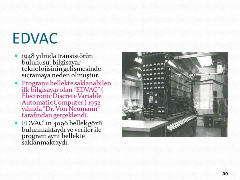 EDVAC 1948 yılında transistörün bulunuşu, bilgisayar teknolojisinin gelişmesinde sıçramaya neden olmuştur. Programı bellekte saklanabilen ilk bilgisay