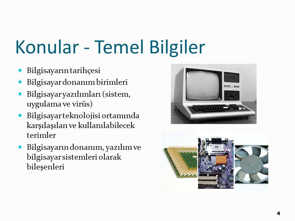 Konular - Temel Bilgiler Bilgisayarın tarihçesi Bilgisayar donanım birimleri Bilgisayar yazılımları (sistem, uygulama ve virüs) Bilgisayar teknolojisi
