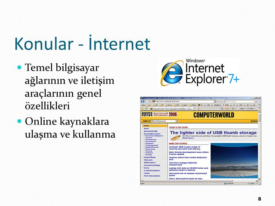 Konular - İnternet Temel bilgisayar ağlarının ve iletişim araçlarının genel özellikleri Online kaynaklara ulaşma ve kullanma 8