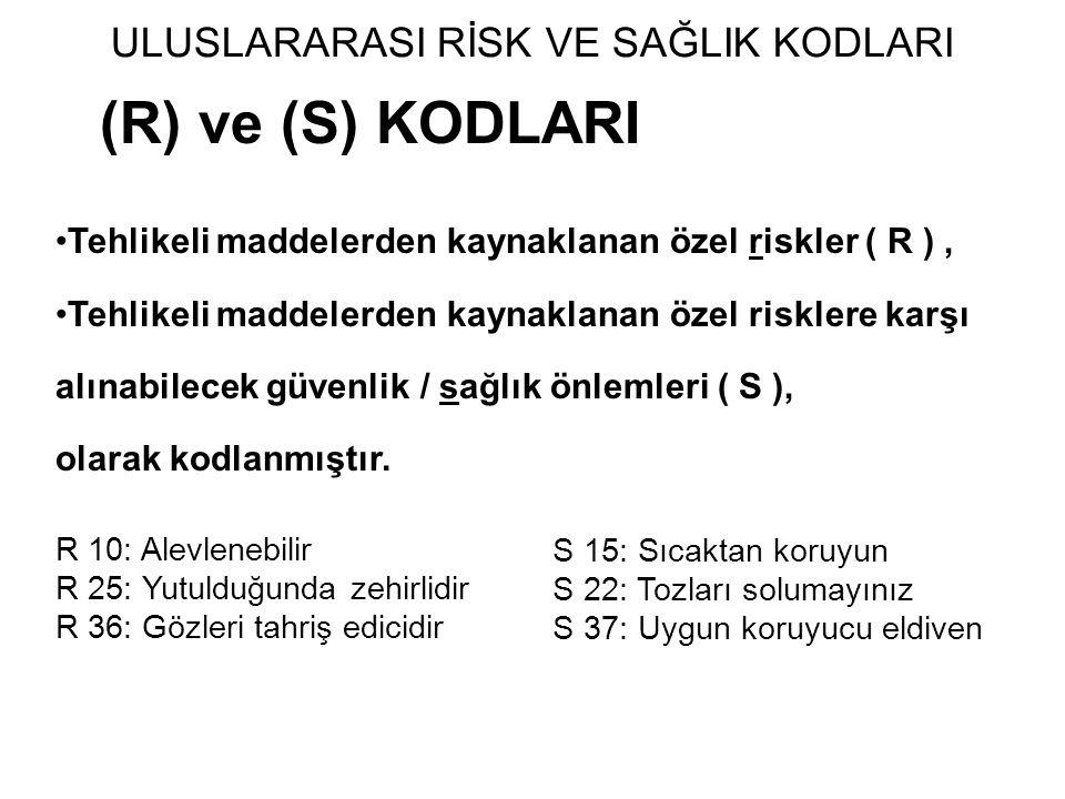 (R) ve (S) KODLARI Tehlikeli maddelerden kaynaklanan özel riskler ( R ), Tehlikeli maddelerden kaynaklanan özel risklere karşı alınabilecek güvenlik /