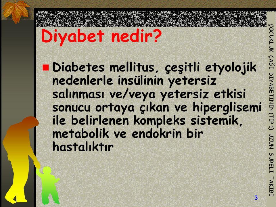 ÇOCUKLUK ÇAĞI DİYABETİNİN (TİP 1) UZUN SÜRELİ TAKİBİ 3 Diyabet nedir? Diabetes mellitus, çeşitli etyolojik nedenlerle insülinin yetersiz salınması ve/