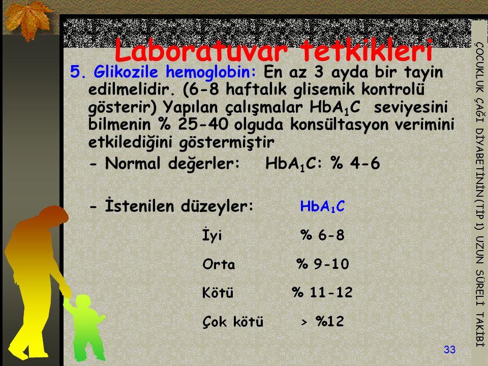 ÇOCUKLUK ÇAĞI DİYABETİNİN (TİP 1) UZUN SÜRELİ TAKİBİ 33 Laboratuvar tetkikleri 5. Glikozile hemoglobin: En az 3 ayda bir tayin edilmelidir. (6-8 hafta