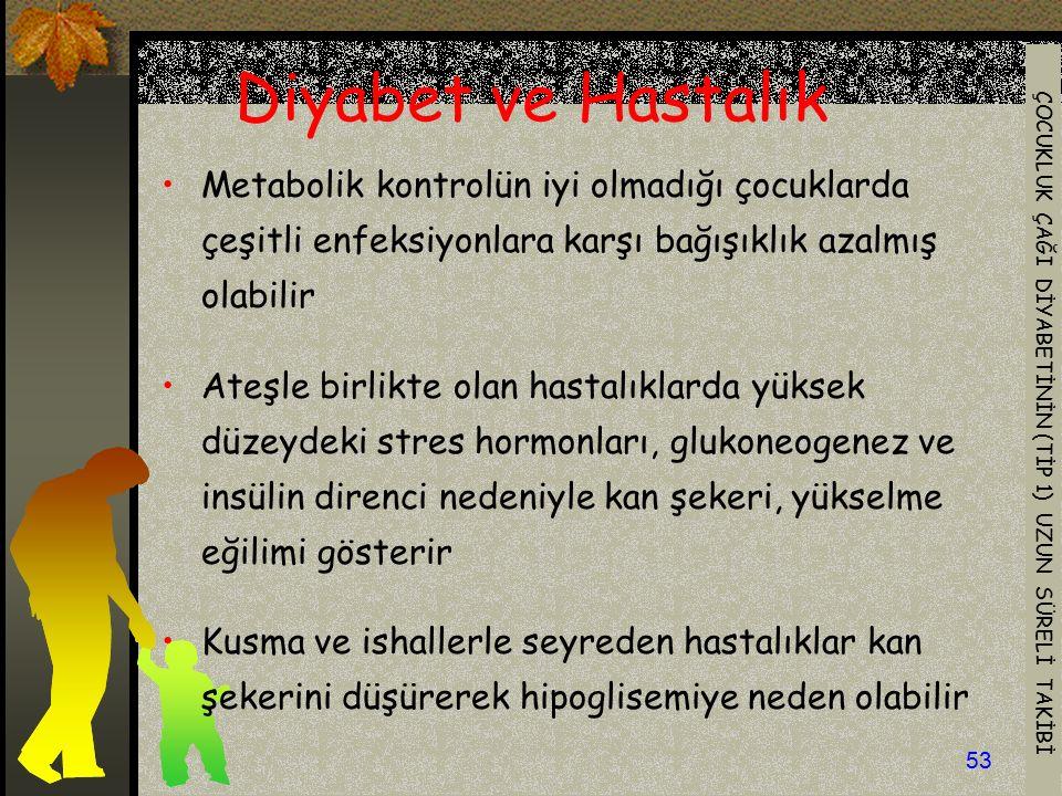 ÇOCUKLUK ÇAĞI DİYABETİNİN (TİP 1) UZUN SÜRELİ TAKİBİ 53 Metabolik kontrolün iyi olmadığı çocuklarda çeşitli enfeksiyonlara karşı bağışıklık azalmış ol