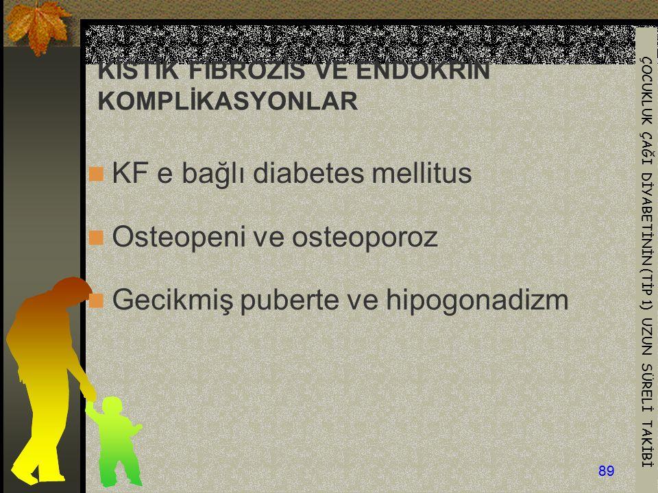ÇOCUKLUK ÇAĞI DİYABETİNİN (TİP 1) UZUN SÜRELİ TAKİBİ 89 KİSTİK FİBROZİS VE ENDOKRİN KOMPLİKASYONLAR KF e bağlı diabetes mellitus Osteopeni ve osteopor