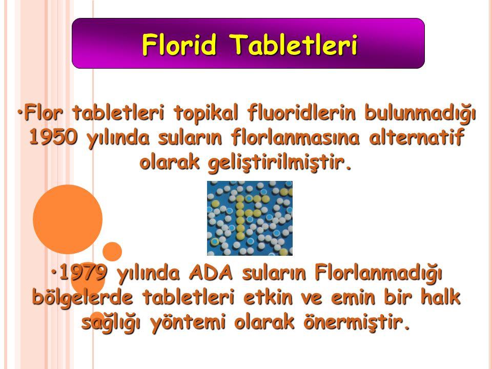 Florid Tabletleri Flor tabletleri topikal fluoridlerin bulunmadığı 1950 yılında suların florlanmasına alternatif olarak geliştirilmiştir.Flor tabletle