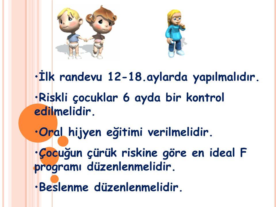 İlk randevu 12-18.aylarda yapılmalıdır. Riskli çocuklar 6 ayda bir kontrol edilmelidir. Oral hijyen eğitimi verilmelidir. Çocuğun çürük riskine göre e
