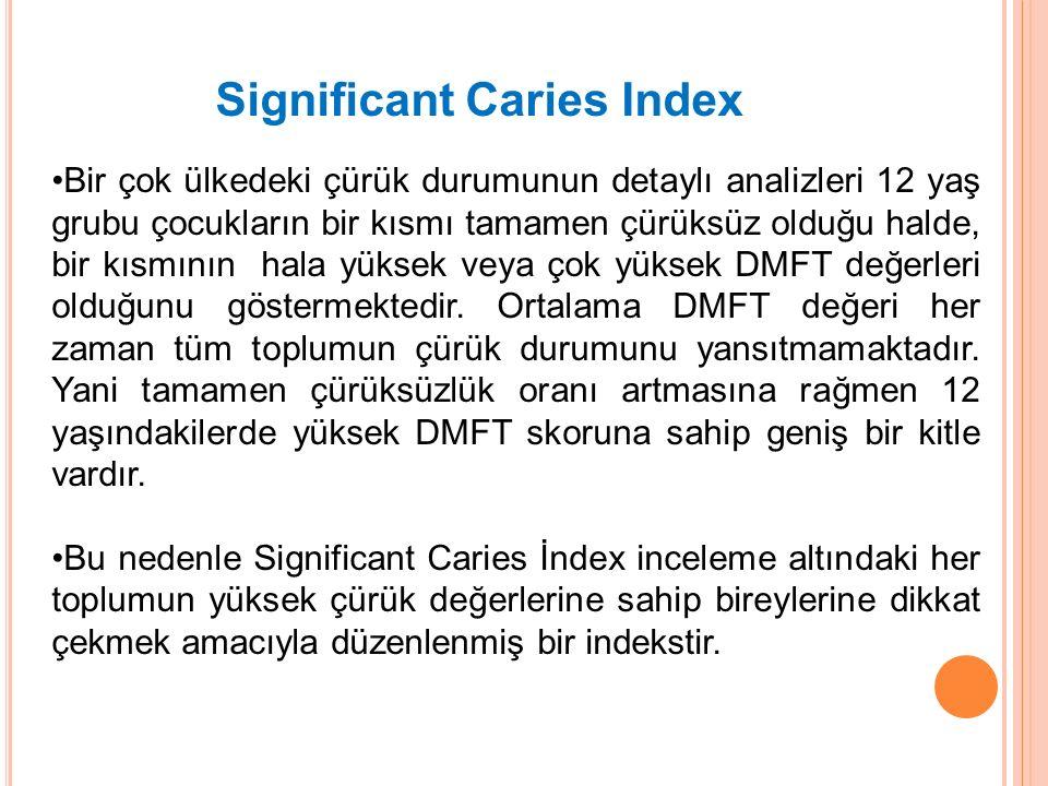 Significant Caries Index Bir çok ülkedeki çürük durumunun detaylı analizleri 12 yaş grubu çocukların bir kısmı tamamen çürüksüz olduğu halde, bir kısm