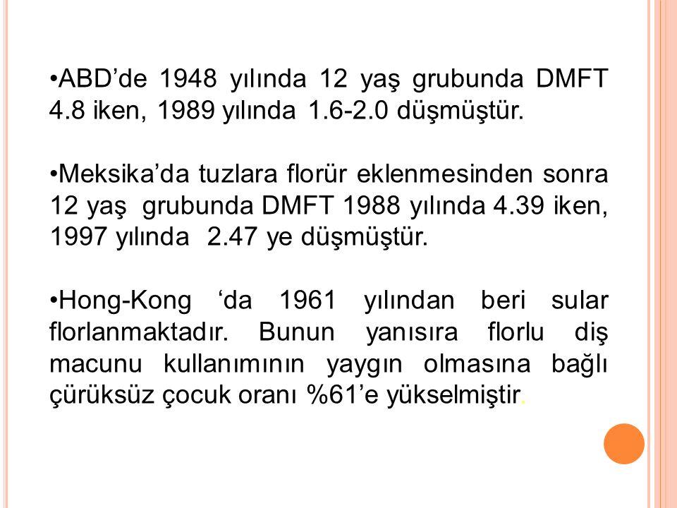 ABD'de 1948 yılında 12 yaş grubunda DMFT 4.8 iken, 1989 yılında 1.6-2.0 düşmüştür. Meksika'da tuzlara florür eklenmesinden sonra 12 yaş grubunda DMFT