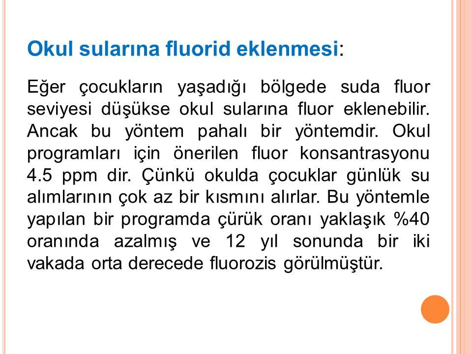 Okul sularına fluorid eklenmesi: Eğer çocukların yaşadığı bölgede suda fluor seviyesi düşükse okul sularına fluor eklenebilir. Ancak bu yöntem pahalı