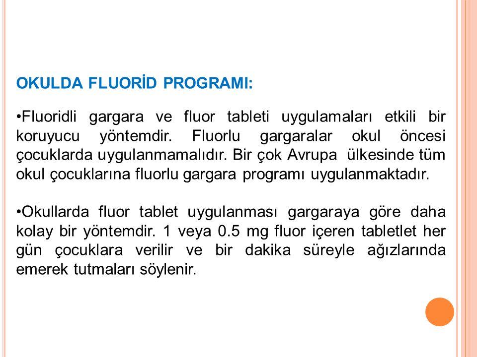 OKULDA FLUORİD PROGRAMI: Fluoridli gargara ve fluor tableti uygulamaları etkili bir koruyucu yöntemdir. Fluorlu gargaralar okul öncesi çocuklarda uygu