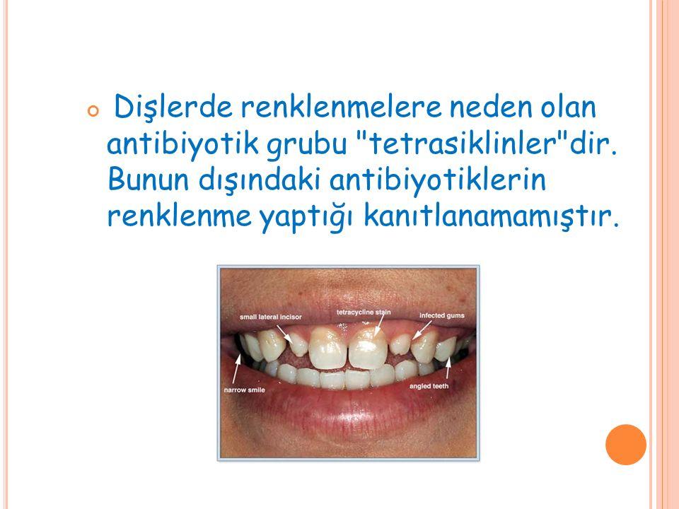 Dişlerde renklenmelere neden olan antibiyotik grubu