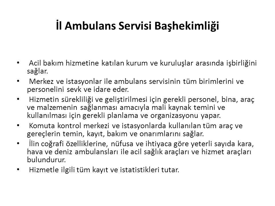 112 Komuta Kontrol Merkezi Bir bölgede veya ilde acil hastalık ve yaralanma durumlarında, ambulans istemi için acil çağrı tek bir merkeze yapılmaktadır.