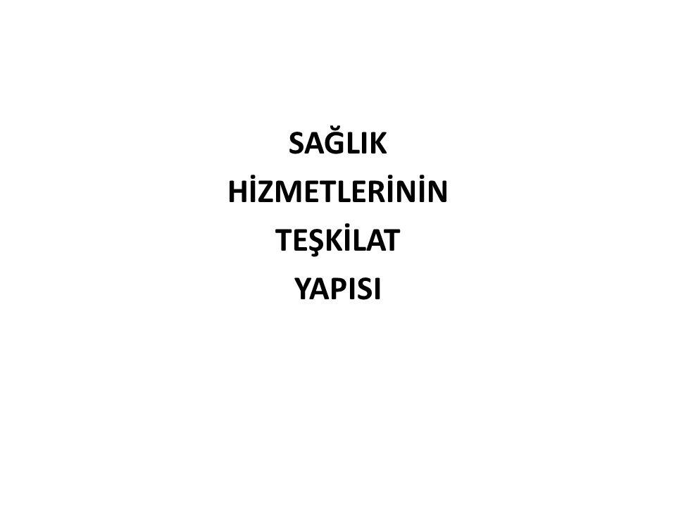 Ülkemizde Sağlık Hizmetleri Sağlık Bakanlığı, Türkiye Cumhuriyeti vatandaşlarının sağlığını korumak, sağlık düzeyini yükseltmek, hasta ve yaralıların tedavi edilmelerini sağlamak, gerektiğinde rehabilite hizmetlerini sunmak amacıyla kurulmuş en üst düzeyde bir teşkilattır.