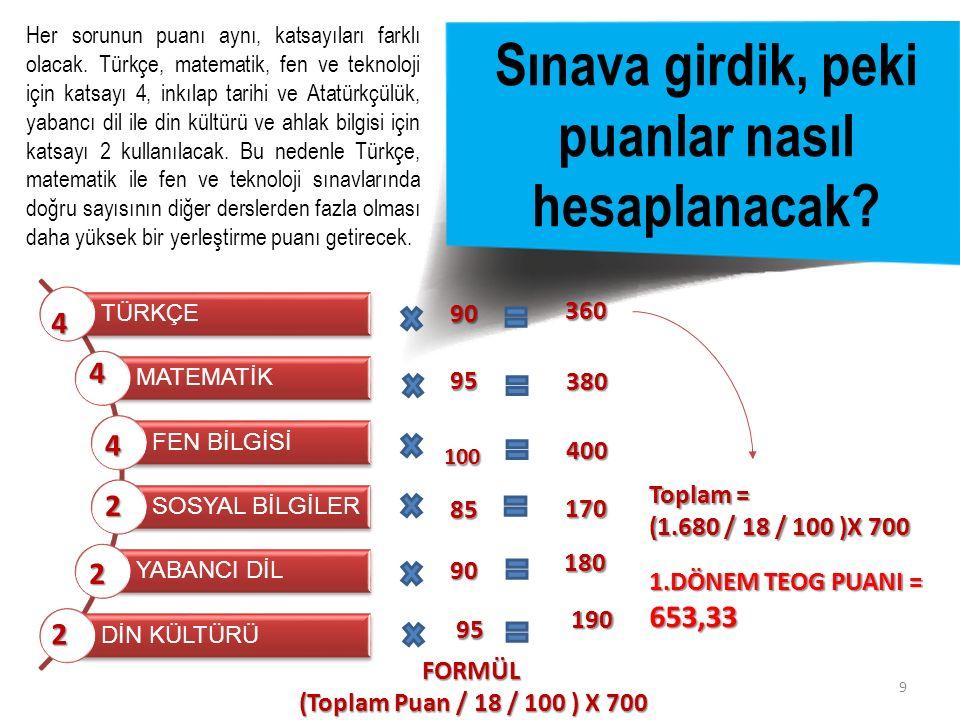 9 Sınava girdik, peki puanlar nasıl hesaplanacak? Her sorunun puanı aynı, katsayıları farklı olacak. Türkçe, matematik, fen ve teknoloji için katsayı