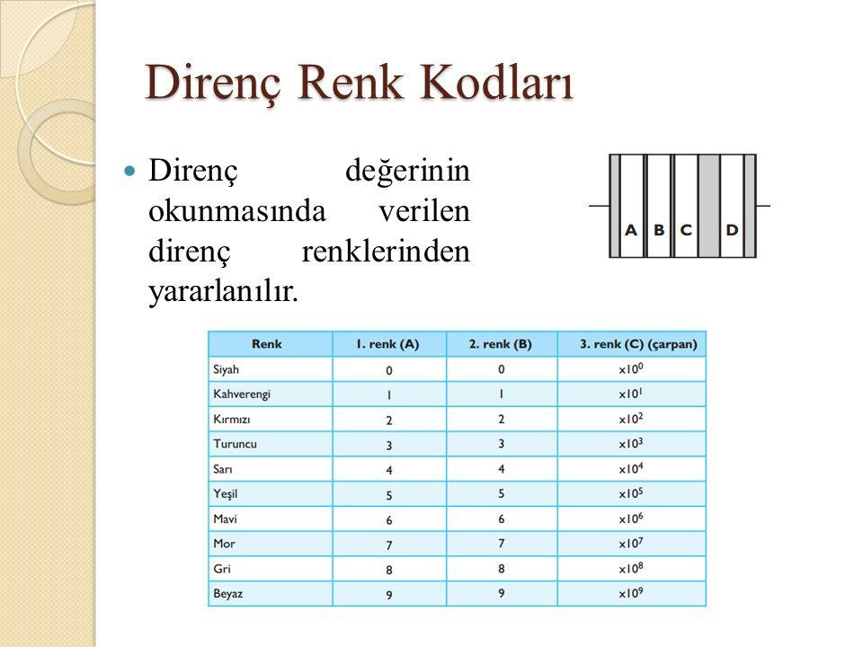 Direnç Renk Kodları Direnç değerinin okunmasında verilen direnç renklerinden yararlanılır.