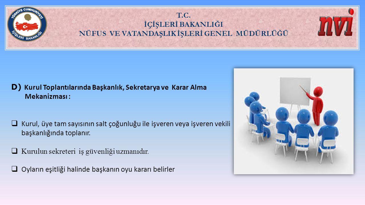 T.C. İÇİŞLERİ BAKANLIĞI NÜFUS VE VATANDAŞLIK İŞLERİ GENEL MÜDÜRLÜĞÜ D) Kurul Toplantılarında Başkanlık, Sekretarya ve Karar Alma Mekanizması :  Kurul