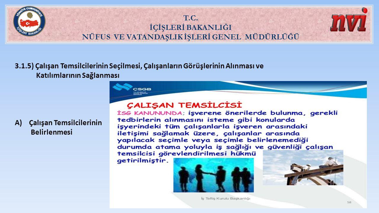 T.C. İÇİŞLERİ BAKANLIĞI NÜFUS VE VATANDAŞLIK İŞLERİ GENEL MÜDÜRLÜĞÜ 3.1.5) Çalışan Temsilcilerinin Seçilmesi, Çalışanların Görüşlerinin Alınması ve Ka