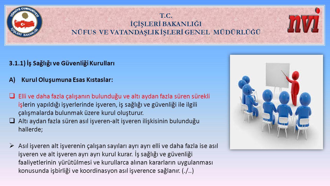 T.C. İÇİŞLERİ BAKANLIĞI NÜFUS VE VATANDAŞLIK İŞLERİ GENEL MÜDÜRLÜĞÜ 3.1.1) İş Sağlığı ve Güvenliği Kurulları A)Kurul Oluşumuna Esas Kıstaslar:  Elli
