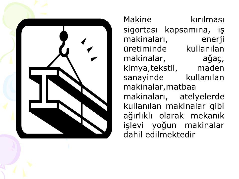 Makine kırılması sigortası kapsamına, iş makinaları, enerji üretiminde kullanılan makinalar, ağaç, kimya,tekstil, maden sanayinde kullanılan makinalar,matbaa makinaları, atelyelerde kullanılan makinalar gibi ağırlıklı olarak mekanik işlevi yoğun makinalar dahil edilmektedir