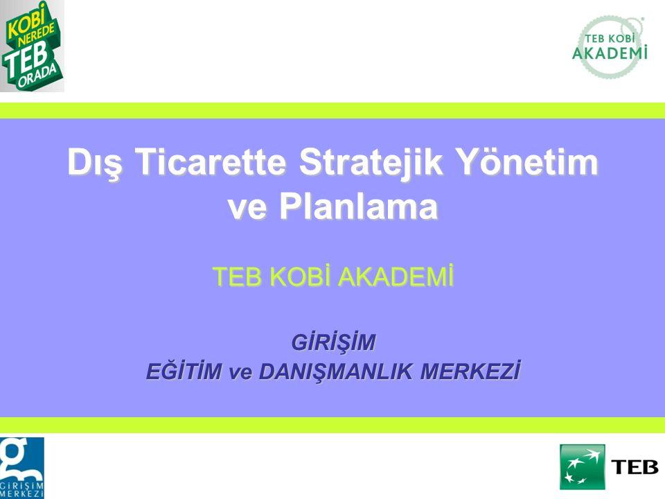 Dış Ticarette Stratejik Yönetim ve Planlama TEB KOBİ AKADEMİ GİRİŞİM EĞİTİM ve DANIŞMANLIK MERKEZİ
