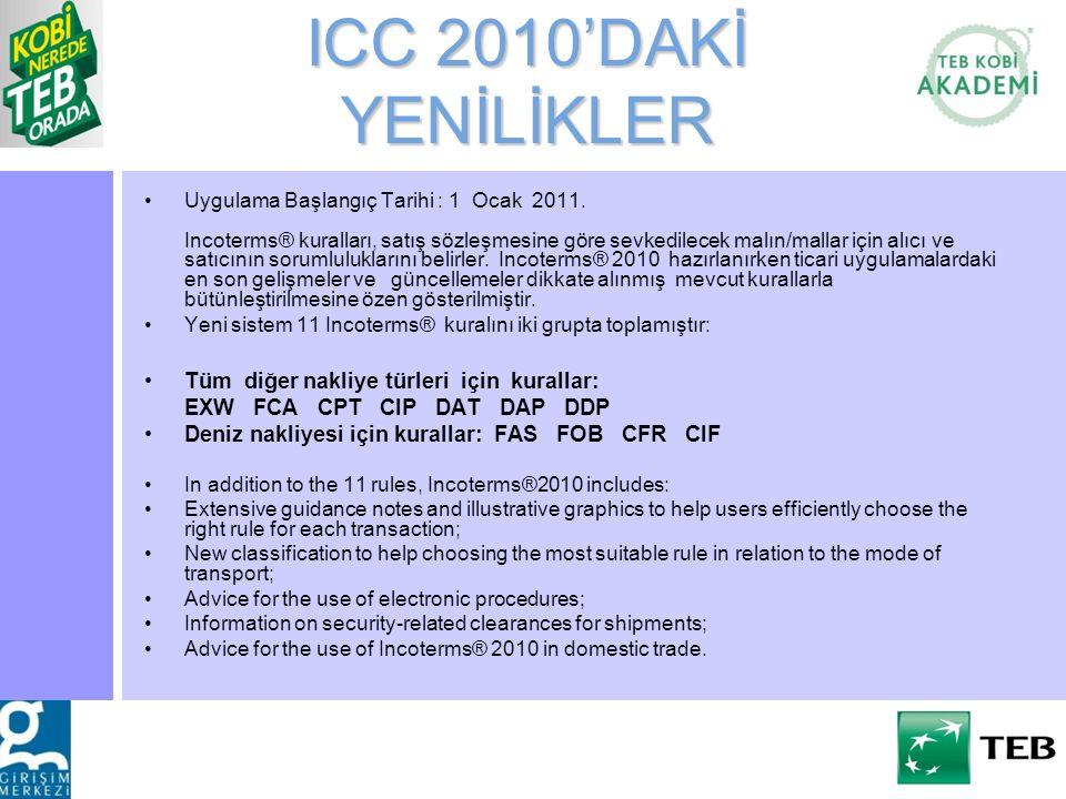 ICC 2010'DAKİ YENİLİKLER Uygulama Başlangıç Tarihi : 1 Ocak 2011. Incoterms® kuralları, satış sözleşmesine göre sevkedilecek malın/mallar için alıcı v