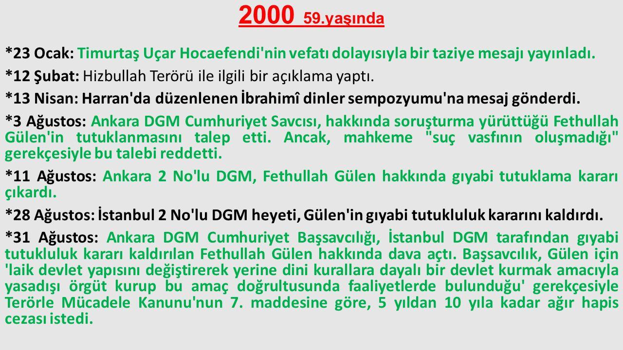 2000 59.yaşında *23 Ocak: Timurtaş Uçar Hocaefendi'nin vefatı dolayısıyla bir taziye mesajı yayınladı. *12 Şubat: Hizbullah Terörü ile ilgili bir açık