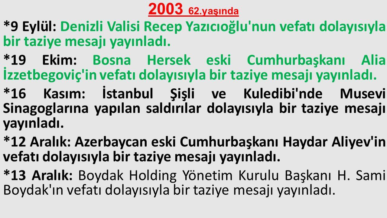 2003 62.yaşında *9 Eylül: Denizli Valisi Recep Yazıcıoğlu'nun vefatı dolayısıyla bir taziye mesajı yayınladı. *19 Ekim: Bosna Hersek eski Cumhurbaşkan