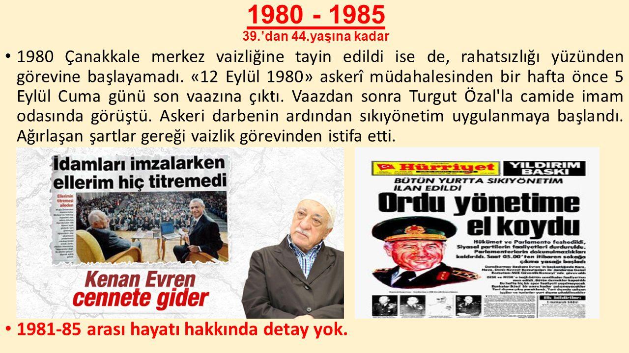 1980 - 1985 39.'dan 44.yaşına kadar 1980 Çanakkale merkez vaizliğine tayin edildi ise de, rahatsızlığı yüzünden görevine başlayamadı. «12 Eylül 1980»