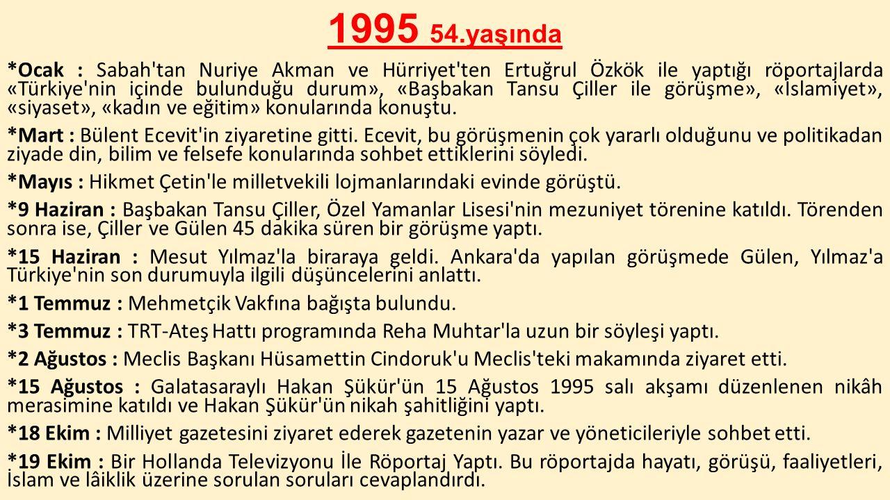 1995 54.yaşında *Ocak : Sabah'tan Nuriye Akman ve Hürriyet'ten Ertuğrul Özkök ile yaptığı röportajlarda «Türkiye'nin içinde bulunduğu durum», «Başbaka
