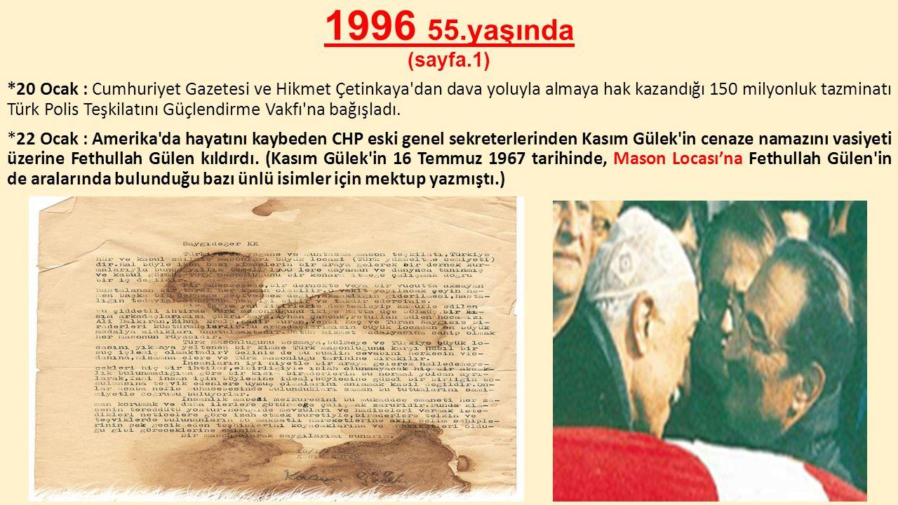 1996 55.yaşında (sayfa.1) *20 Ocak : Cumhuriyet Gazetesi ve Hikmet Çetinkaya'dan dava yoluyla almaya hak kazandığı 150 milyonluk tazminatı Türk Polis