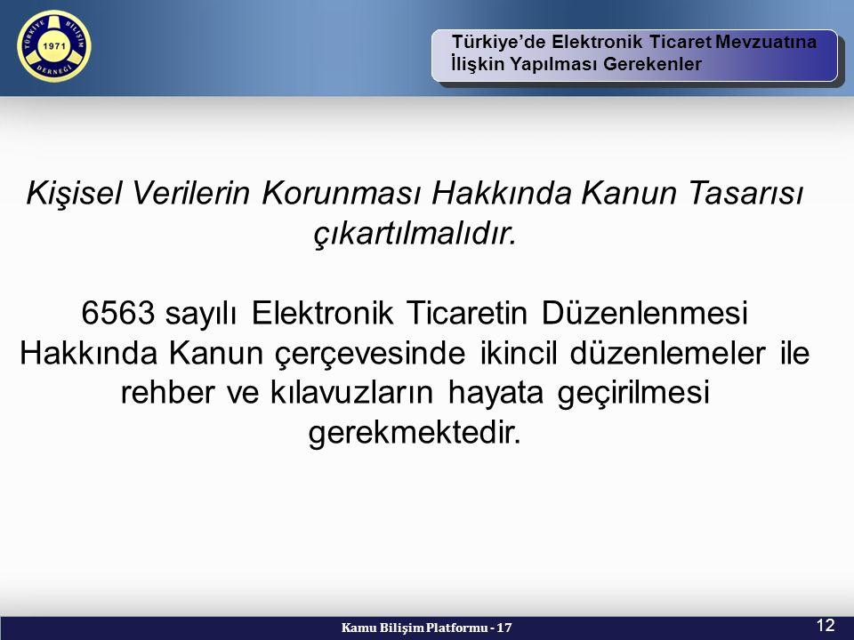 Kamu Bilişim Platformu - 17 12 TBD Vizyon ve Kuruluş Amacı Türkiye'de Elektronik Ticaret Mevzuatına İlişkin Yapılması Gerekenler Kişisel Verilerin Korunması Hakkında Kanun Tasarısı çıkartılmalıdır.