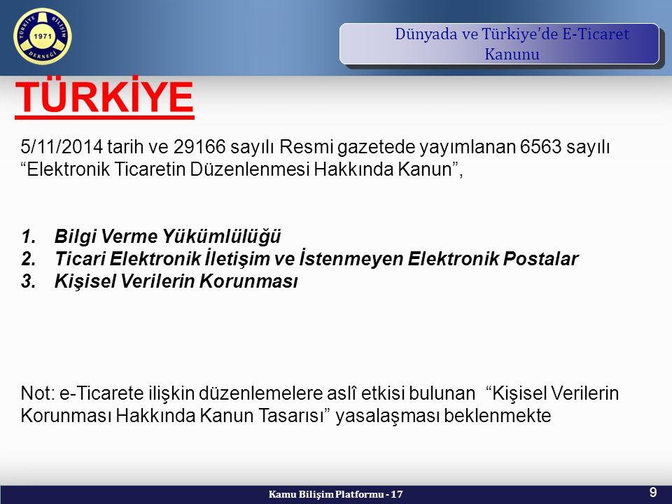 Kamu Bilişim Platformu - 17 9 TBD Vizyon ve Kuruluş Amacı Dünyada ve Türkiye'de E-Ticaret Kanunu TÜRKİYE 5/11/2014 tarih ve 29166 sayılı Resmi gazetede yayımlanan 6563 sayılı Elektronik Ticaretin Düzenlenmesi Hakkında Kanun , 1.Bilgi Verme Yükümlülüğü 2.Ticari Elektronik İletişim ve İstenmeyen Elektronik Postalar 3.Kişisel Verilerin Korunması Not: e-Ticarete ilişkin düzenlemelere aslî etkisi bulunan Kişisel Verilerin Korunması Hakkında Kanun Tasarısı yasalaşması beklenmekte