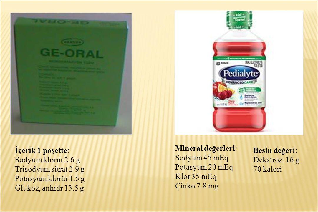 İçerik 1 poşette: Sodyum klorür 2.6 g Trisodyum sitrat 2.9 g Potasyum klorür 1.5 g Glukoz, anhidr 13.5 g Mineral değerleri: Sodyum 45 mEq Potasyum 20 mEq Klor 35 mEq Çinko 7.8 mg Besin değeri: Dekstroz: 16 g 70 kalori