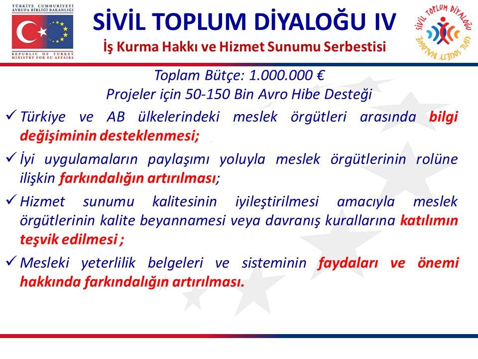 Toplam Bütçe: 1.000.000 € Projeler için 50-150 Bin Avro Hibe Desteği SİVİL TOPLUM DİYALOĞU IV İş Kurma Hakkı ve Hizmet Sunumu Serbestisi Türkiye ve AB ülkelerindeki meslek örgütleri arasında bilgi değişiminin desteklenmesi; İyi uygulamaların paylaşımı yoluyla meslek örgütlerinin rolüne ilişkin farkındalığın artırılması; Hizmet sunumu kalitesinin iyileştirilmesi amacıyla meslek örgütlerinin kalite beyannamesi veya davranış kurallarına katılımın teşvik edilmesi ; Mesleki yeterlilik belgeleri ve sisteminin faydaları ve önemi hakkında farkındalığın artırılması.