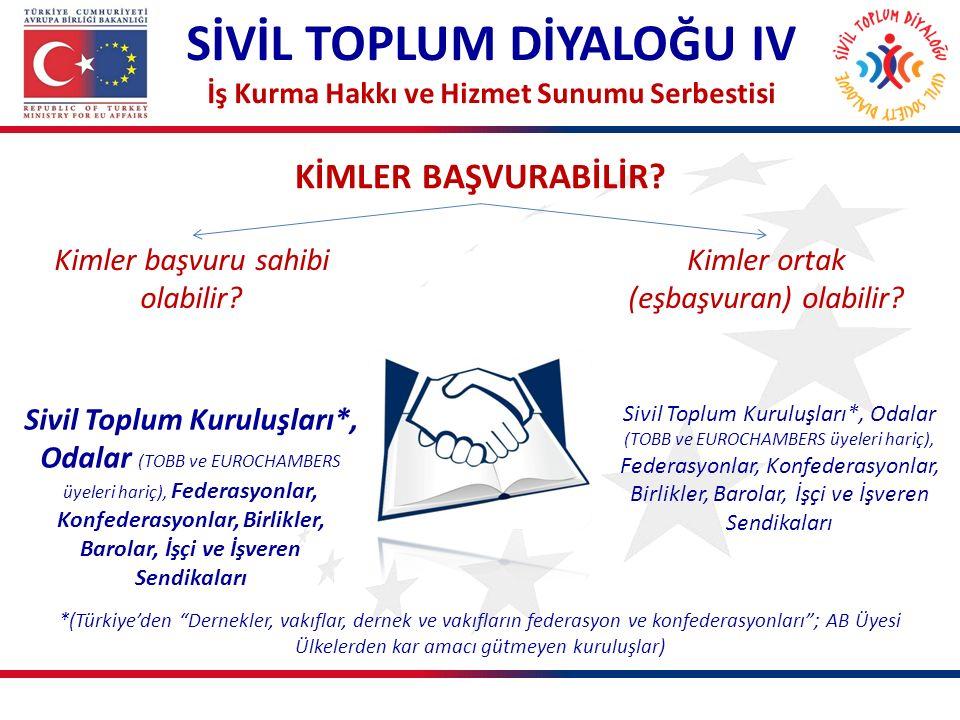 KİMLER BAŞVURABİLİR? SİVİL TOPLUM DİYALOĞU IV İş Kurma Hakkı ve Hizmet Sunumu Serbestisi Sivil Toplum Kuruluşları*, Odalar (TOBB ve EUROCHAMBERS üyele