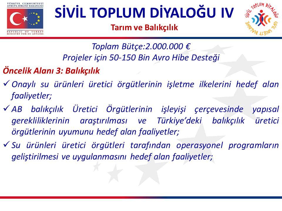 Toplam Bütçe:2.000.000 € Projeler için 50-150 Bin Avro Hibe Desteği SİVİL TOPLUM DİYALOĞU IV Tarım ve Balıkçılık Öncelik Alanı 3: Balıkçılık Onaylı su ürünleri üretici örgütlerinin işletme ilkelerini hedef alan faaliyetler; AB balıkçılık Üretici Örgütlerinin işleyişi çerçevesinde yapısal gerekliliklerinin araştırılması ve Türkiye'deki balıkçılık üretici örgütlerinin uyumunu hedef alan faaliyetler; Su ürünleri üretici örgütleri tarafından operasyonel programların geliştirilmesi ve uygulanmasını hedef alan faaliyetler;