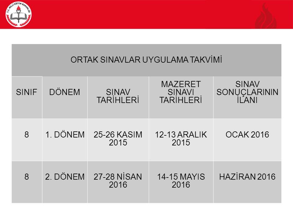 ORTAÖĞRETİME GEÇİŞ UYGULAMASI 6  Ortak sınavlar, tüm ülke genelinde olağanüstü haller dışında öğrencilerin öğrenim gördükleri okullarla, yurt dışında; KKTC ve Bakanlığımıza bağlı okulların bulunduğu, sınav yapılması uygun görülen merkezlerde Türkiye saatiyle 09.00, 10.10 ve 11.20'de başlayacak ve aynı anda yapılacaktır.