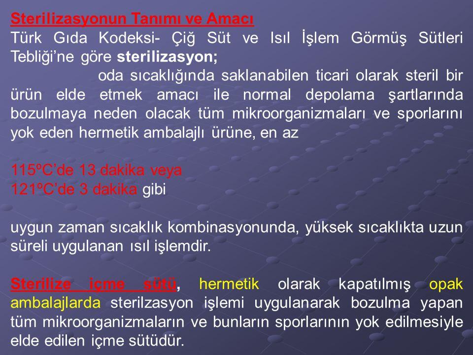 Sterilizasyonun Tanımı ve Amacı Türk Gıda Kodeksi- Çiğ Süt ve Isıl İşlem Görmüş Sütleri Tebliği'ne göre sterilizasyon; oda sıcaklığında saklanabilen t