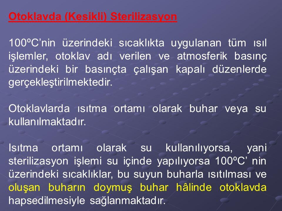 Otoklavda (Kesikli) Sterilizasyon 100ºC'nin üzerindeki sıcaklıkta uygulanan tüm ısıl işlemler, otoklav adı verilen ve atmosferik basınç üzerindeki bir
