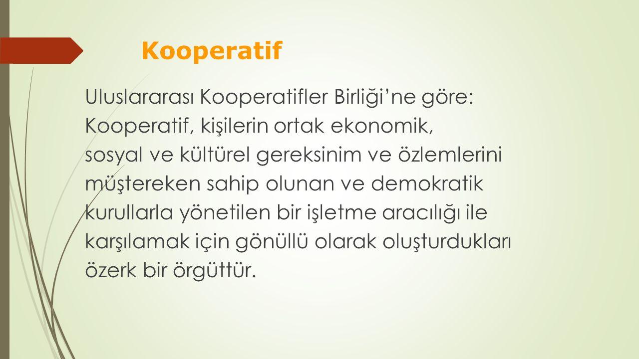 Kooperatif Uluslararası Kooperatifler Birliği'ne göre: Kooperatif, kişilerin ortak ekonomik, sosyal ve kültürel gereksinim ve özlemlerini müştereken s