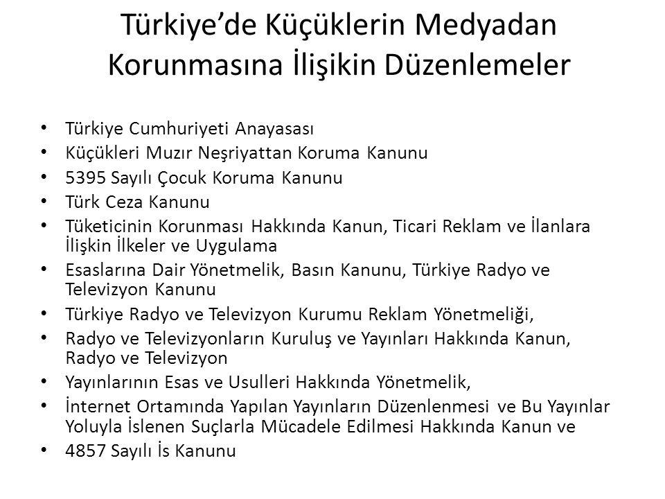 Türkiye'de Küçüklerin Medyadan Korunmasına İlişikin Düzenlemeler Türkiye Cumhuriyeti Anayasası Küçükleri Muzır Neşriyattan Koruma Kanunu 5395 Sayılı Ç