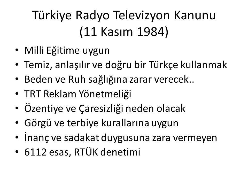 Türkiye Radyo Televizyon Kanunu (11 Kasım 1984) Milli Eğitime uygun Temiz, anlaşılır ve doğru bir Türkçe kullanmak Beden ve Ruh sağlığına zarar verece