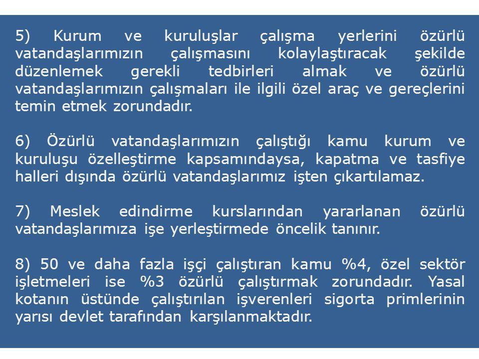 5) Kurum ve kuruluşlar çalışma yerlerini özürlü vatandaşlarımızın çalışmasını kolaylaştıracak şekilde düzenlemek gerekli tedbirleri almak ve özürlü va