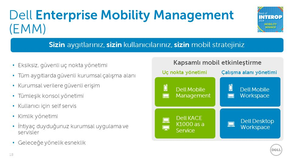 18 Sizin aygıtlarınız, sizin kullanıcılarınız, sizin mobil stratejiniz Eksiksiz, güvenli uç nokta yönetimi Tüm aygıtlarda güvenli kurumsal çalışma alanı Kurumsal verilere güvenli erişim Tümleşik konsol yönetimi Kullanıcı için self servis Kimlik yönetimi İhtiyaç duyduğunuz kurumsal uygulama ve servisler Geleceğe yönelik esneklik Dell Enterprise Mobility Management (EMM) Kapsamlı mobil etkinleştirme Uç nokta yönetimiÇalışma alanı yönetimi Dell Mobile Management Dell KACE K1000 as a Service Dell Mobile Workspace Dell Desktop Workspace