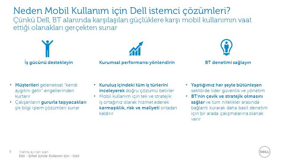 17 İşe özel mobil çözümler Dell tablet ve uygulama servisleri Yüksek Öğrenim Öğrencilerin akademik katılım ve öğrenim bakımından verimliliğini artırdı Öğrenci deneyimini zenginleştirerek bilgilerin kalıcı olarak öğrenilmesini başardı Öğrencilerin ders kitaplarından 275 ABD doları tasarruf etmelerini sağladı Üniversitenin markasını ve rekabet üstünlüğünü geliştirdi BT'nin ağır sorumluluğunu standartlaştırılmış mobil aygıtlarla kolaylaştırdı Toptan/Perakende Satış Müşteri hizmetleri, tedarik verilerine gerçek zamanlı erişim sayesinde güçlendirilerek satış işlemlerinin daha hızlı yapılması sağlandı Modern mobil platform ile desteklenen yeni hizmetler Geliştirme uzmanlığı sayesinde kusursuz bir kullanıcı deneyimi sağlanıyor İki ay içinde geliştirme alanından gelir sağlandı Sigorta Üç ay içinde sağlam teknoloji sayesinde satışlar arttı Sigorta prosedürleri 30 dakika içinde tamamlanıyor, beş ile yedi gün süreyle beklemeye son verildi Yönetim işlerinde günde iki saat kazanıldıktan sonra temsilciler daha fazla müşteri ziyareti yapmaya başladı Temsilcilerin sistemlere güvenli erişimi sayesinde müşteriler daha iyi hizmet alıyor